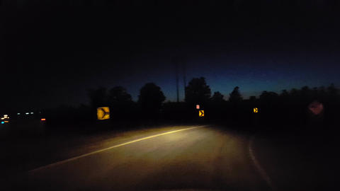 Driving Onto City Highway During the Evening. Driver Point of View POV Enter Urban Interstate From Footage