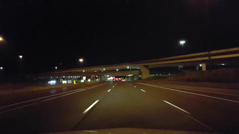 Driving City Highway During the Evening. Driver Point of…, Live Action