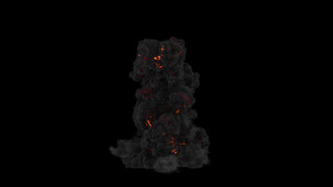 Explosion And Heavy Smoke. With Alpha Matte Animation