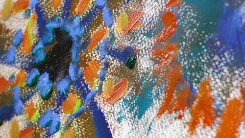 Closeup of artist brush strokes painting Footage