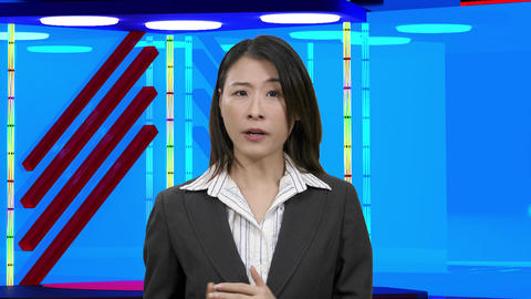 Virtual TV studio with female anchor 34 Footage
