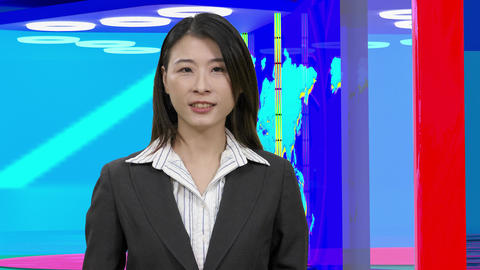 Virtual TV studio with female anchor 30 Footage
