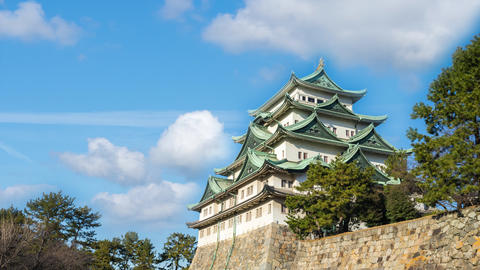Nagoya Castle landmark in Nagoya city, Japan time lapse Live Action