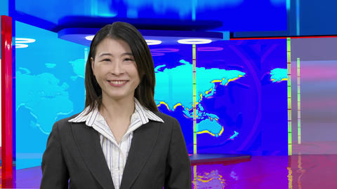 Virtual TV studio with female anchor suspended green screen6 Footage