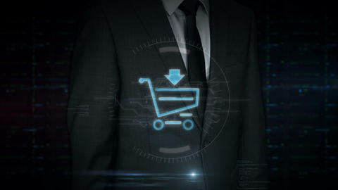 Businessman touch screen with shopping cart symbol hologram 動画素材, ムービー映像素材