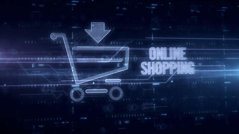 Online shopping blue hologram Animation