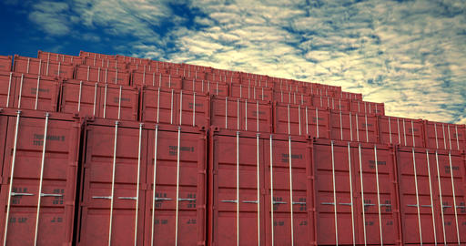 Stacks of shipping containers under evening cloudscape Animation