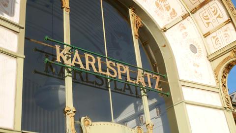 close up Karlsplatz Stadtbahn Station designed by designer Otto Wagner Footage