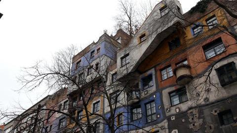 ornamental wall of Hundertwasser house, Vienna Austria Footage