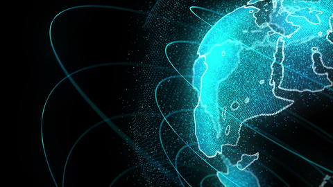 Looped Rotation of Digital Holographic Earth Globe Videos animados