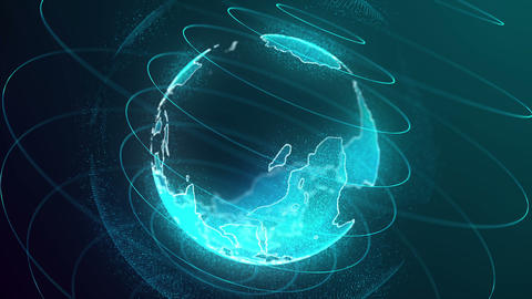 Looped Rotation of Digital Holographic Earth Globe Animation