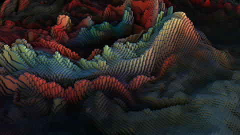 Abstract Landscape Block Wave Animation