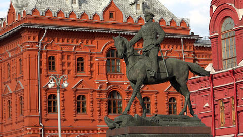 Monument to Marshal Zhukov in Moscow. 4K Footage
