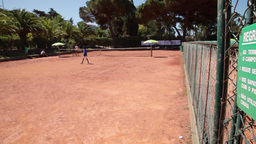 tennis court with people playing tennis Footage