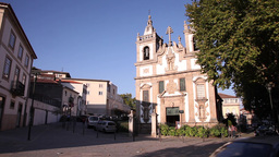 Baroque architecture Church of St. Peter in vila real portugal Footage