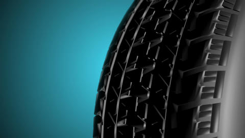 Close up on a car tire in motion. Seamless loop Animation
