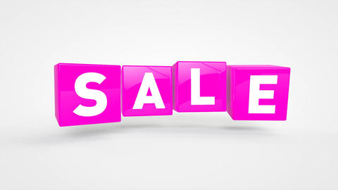 Looping flying violet cubes with text SALE Animation