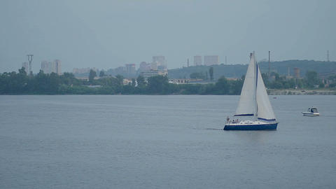 Yacht sailing on a river Footage