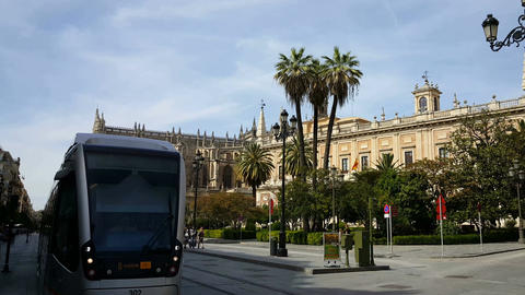 Metro passing by at Cathedral of Saint Mary of the See, Seville Footage