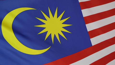 Closeup of a textile flag of Malaysia Live Action