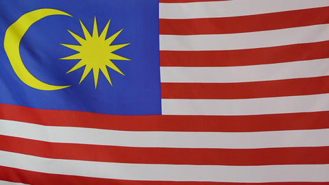 Closeup of Malaysian national flag in slow motion Footage