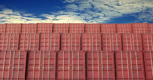 Stacks of shipping containers under sunset cloudscape Animation