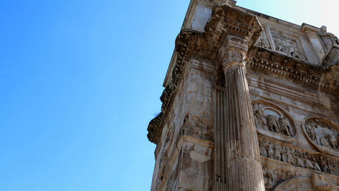 details on the Arch of Constantine, Rome Italy Footage