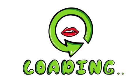 Loading sign and lips white Animation