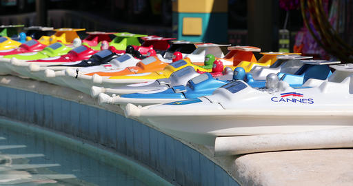 Colorful RC Remote Control Speed Boats Racers Footage