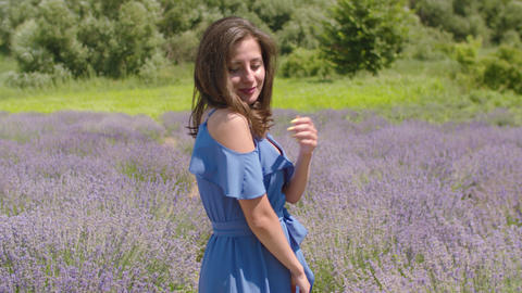 Portrait of elegant woman in lavender field Footage