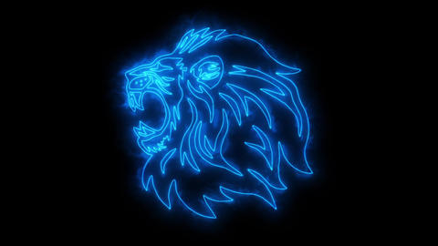 Blue Lion Head Animated Logo with Reveal Effect Animation