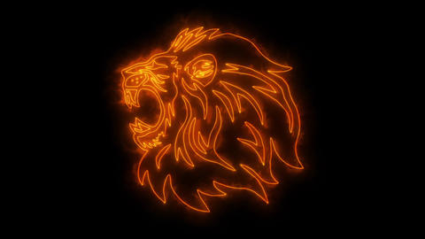 Orange Lion Head Animated Logo with Reveal Effect Videos animados