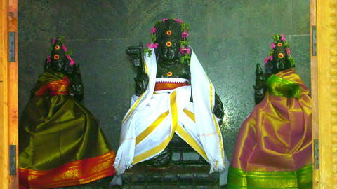 God Statue in a Temple, Detail of colorful statue of Indian Hindu God Live Action