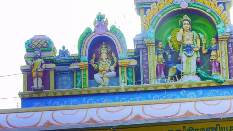 Exterior of Hindu God Temple, A Statue of Lord Murugan the Hindu goddess Live Action