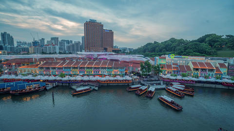 Clarke quay tourist attraction day to night time lapse clip Live Action