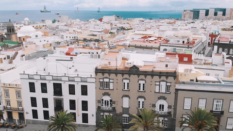 Aerial view of the old square in the center of the capital of Gran Canaria - Live Action