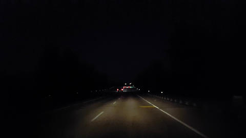 Driving Rural Street During the Evening. Driver Point of... Stock Video Footage