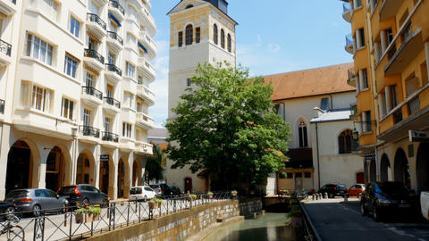 tracking shot from canal to church, Annecy France Footage