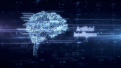 Cybernetic brain blue hologram Animation