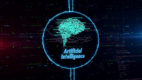 Cybernetic brain hologram in electric circle Animation