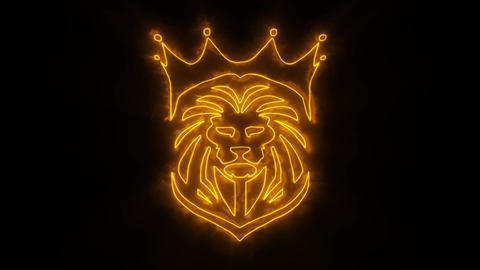 Orange Lion King Animated Logo with Reveal Effect Animation