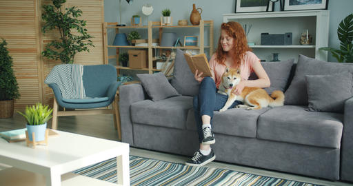 Attractive young lady enjoying interesting book and stroking cute dog at home Footage