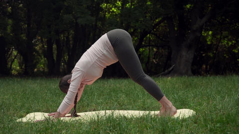 Pregnant woman practicing yoga in the park on a mat, doing asana dog snout down Live Action
