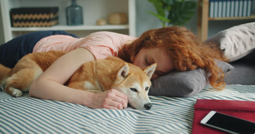 Attractive young woman and cute dog sleeping together at home on bed hugging Footage