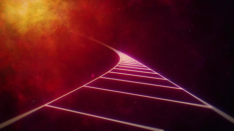 Endless Grid Road to Distant Nebula Animation