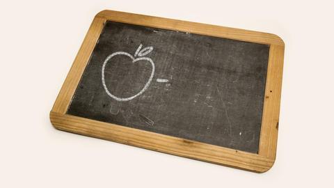 drawing of an apple on a blackboard Footage