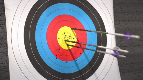 Outdoor Target for archery shooting. Arrow hitting the target Live Action
