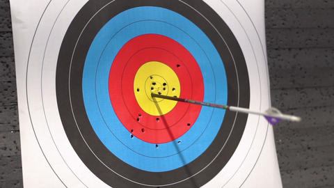 Target for archery shooting. Arrow hitting the target. Hit the goal, success and Live Action