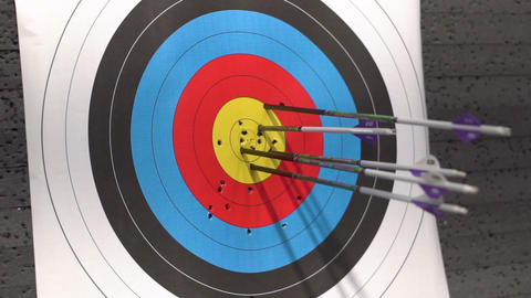 Target for archery shooting. Arrow hitting the target Live Action