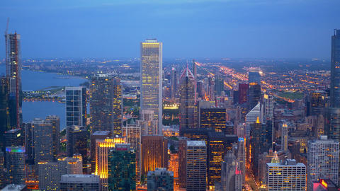 Chicago from above - amazing aerial view in the evening - Footage